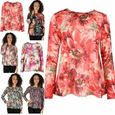 Women Ladies Floral Printed Long Sleeve Stretchy Flared Swing Tee T Shirt Top