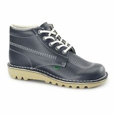 Kickers KICK HI Mens Leather Casual Retro Boots Navy/Natural