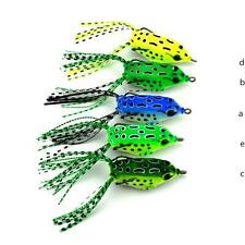 NEW Cute Frog Topwater Fishing Lure Crankbait Hooks Bass Bait Tackle 5 COLOR uf