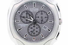 Men's Citizen AT0880-50A Eco-Drive Stainless Steel Chronograph Grey Dial Watch