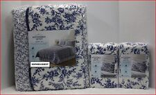3 pc- Home Classic SARAH Reversible QUILT & SHAMS  100% Cotton BLUE TIOLE Floral