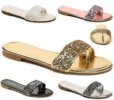 NEW LADIES SANDALS LOW HEEL EVENING SLIPPERS FLIP FLOP GLITTER STRAP PARTY SHOES