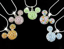Crystal Rhinestone Mickey Minnie Mouse Pendant Earrings 925 Necklace Chain Epcot