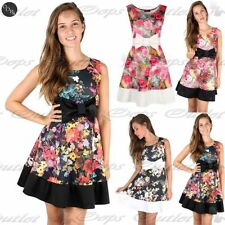 Womens Ladies Floral Knot Bow Detail Contrast Panel Summer Mini Skater Dress Top