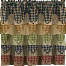 Sturbridge Plaid Lined Point Valance 72x15 Black, Wine, Navy, Mustard or Green