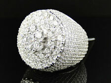 New Mens White Gold Finish Sterling Silver Snow Cone Micro Pave Lab Diamond Ring