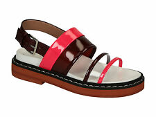 Marni women's flats slingbacks sandals shoes in burgundy Patent Leather