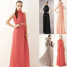 Womens Sexy Halter Chiffon Long Maxi Party Cocktail Evening Wedding Gown Dress