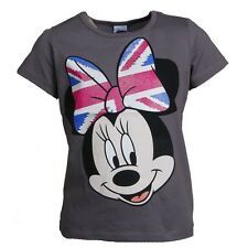 Disney By Puettmann 99387 T-Shirt Top Girls Minnie Mouse Cartoon Cotton Gray