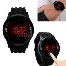 Waterproof Mens Watch RED LED Touch Screen Watch Date Silicone Wrist Black Watch
