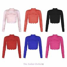 WOMENS NEW LADIES CROPPED CLOSE LACE SHRUG HIGH NECK TOP LONG SLEEVE BOLERO 8-14