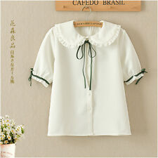 Japanese Sweet Doll Collar Preppy Style Lace Bow Loose Short Sleeve Blouse