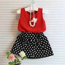Toddler Kids Baby Girls Outfit Clothes Red Vest Tops shirt + Dot Skirt 2PCS Set