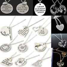 gold Silver Heart Love Family couple Necklace Pendant Women Charm Chain Jewelry