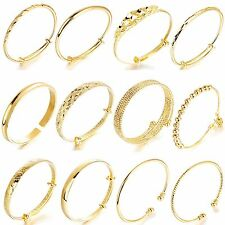 Fashion Women 18k Gold Plated Cuff Bracelet Bangle Brand Jewelry Size Adjustable