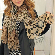New Fashion Women's Long Soft Wrap Lady Shawl Silk Leopard Chiffon Scarf Shawl