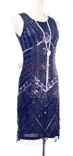 Downton Abbey Grest Gatsby Beads sequined Flapper Lined Silver Dress RR 4035