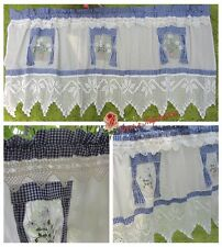 Lovely~Hand Crochet Lace Door Window Valance Cafe Curtain~Blue&White~Daisy&Lotus
