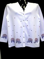 S 6/8 TERAZZO REPUBLICAN ELEPHANT ART DESIGN WOMEN'S COTTON CARDIGAN SWEATER