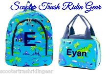 Personalized Backpack & Lunch bag Dinosaurs Navy Blue trim school book NEW