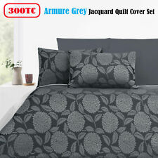 3 Pce - 300TC Armure Grey Silver Jacquard Quilt Doona Duvet Cover Set QUEEN KING