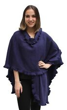 Womens Baby Alpaca Wool Blend Ruffle Trim Ruana Poncho Cape Shawl Wrap