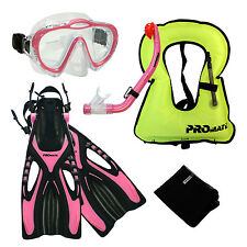 Junior Snorkel Vest Snorkeling Diving Mask Snorkel Fins Youth Child Kid Gear Set