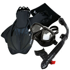 Snorkeling Dive Mask Goggle Dry Snorkel Fins Flippers Bag Sports Gear Set
