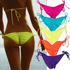 UK Hot Sexy Women Bikini Bottom Cheeky Tie-Side Brazilian Swimwear Beachwear FO