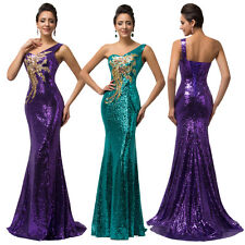 One Shoulder Sexy Women Long Formal Party Prom Cocktail Evening Dress Ball Gown