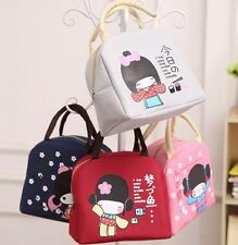 Canvas Cartoon Kids Picnic Lunch Drink Thermal Insulated Cooler Tote Bag School