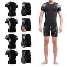 Mens Compression Under Base Layer Tights T-shirts Sport Jogging Top Short Pants