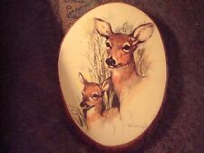 Doe & Fawn Wood Wall Plaque by Paul Whitney