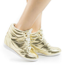 Bethany17 Lace up Hidden High Wedge Women's Fashion Sneakers