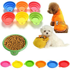 Pet Dog Cat Portable Silicone Collapsible Feeding Bowl Water Dish Feeder