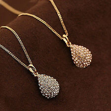 Stunning Women Rhinestone Plated Teardrop Long Chain Crystal Pendant Necklace