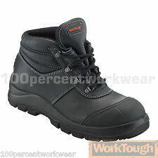 Worktough 81SM Black Leather Chukka Safety Work Boots Shoes Toe Cap Mid Sole S3