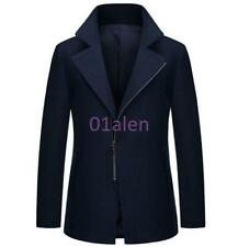 2016 Mens Thick Cashmere Blend Coats Trench Peacoat Casual Long Jacket Outwear