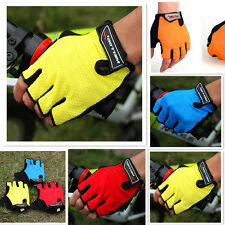 Cycling Bicycle Bike Breathable Gel Silicone Half Finger Fingerless Gloves L-XL