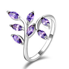 Size 6,7,8,9,10 Fasion Womens Amethyst 18K Gold Filled Delicate Wedding Rings