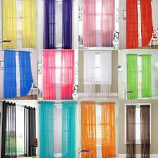 Solid Tulle Valances Voile Door Window Curtain Drape Panel Sheer Scarf Divider