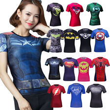 Women Ladies Compression Shirt Top Baselayer Tight Skin Short Sleeve For Fitness