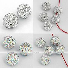 5X 10/12mm CZ Crystal Fimo Disco Ball Charm Bead Fit Hip Hop Bracelet Making DIY