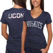 UConn Huskies Women's Slab Serif Tri-Blend V-Neck T-Shirt - Navy Blue - College