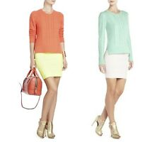 BCBG KAYNE Sweater Cable Knit Orange or Green  NWT Sz XS, S $198