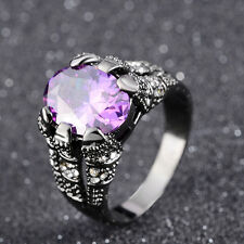 Fashion Jewelry Size 8,9,10,11 Gorgeous Amethyst Black 18k Gold Filled Men Rings