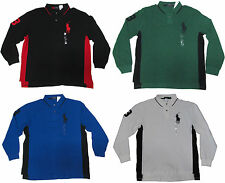 Ralph Lauren Mens Black Blue Green White Long Sleeve Big Pony Rugby Polo Shirt