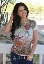 VOCAL OLIVE SUBLIMATION CRYSTAL BURNOUT HEART CROWN SHIRT COWGIRL SEXY L LARGE
