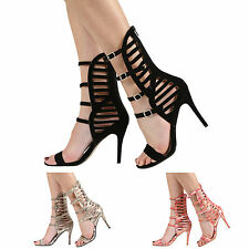 NEW WOMENS LADIES STILETTO HIGH HEEL MULTI STRAPPY PARTY SANDALS SHOES SIZE 3-8