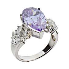 5 Ct Pear Lavender Cubic Zirconia 925 Sterling Silver Fashion Right Hand Ring